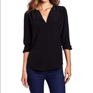 Joie Tera Caviar Black silk blouse top